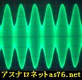 Oscilloscope waveform of the amplitude modulation